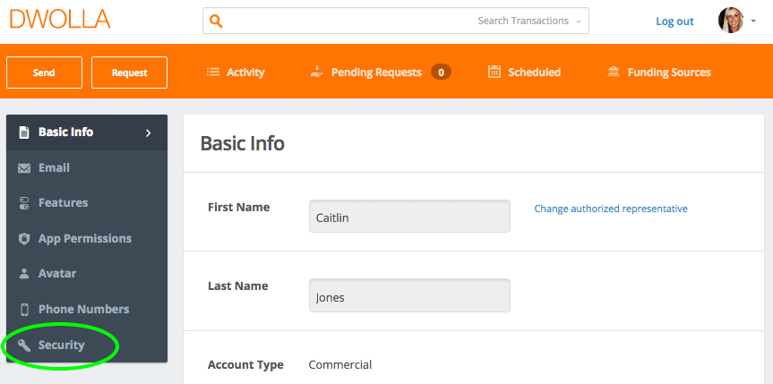 account settings page image