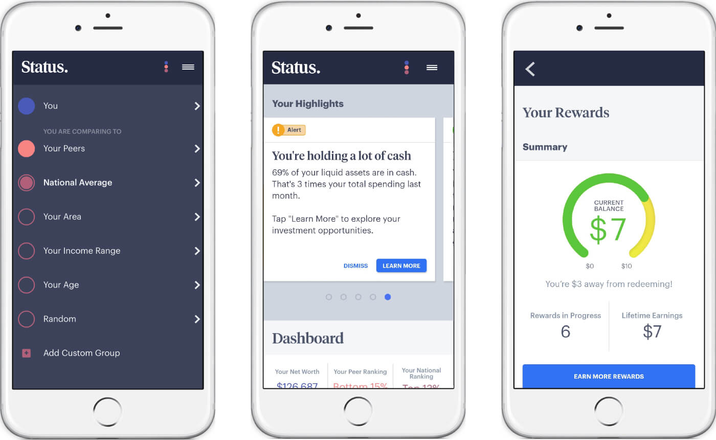 status money application screenshots