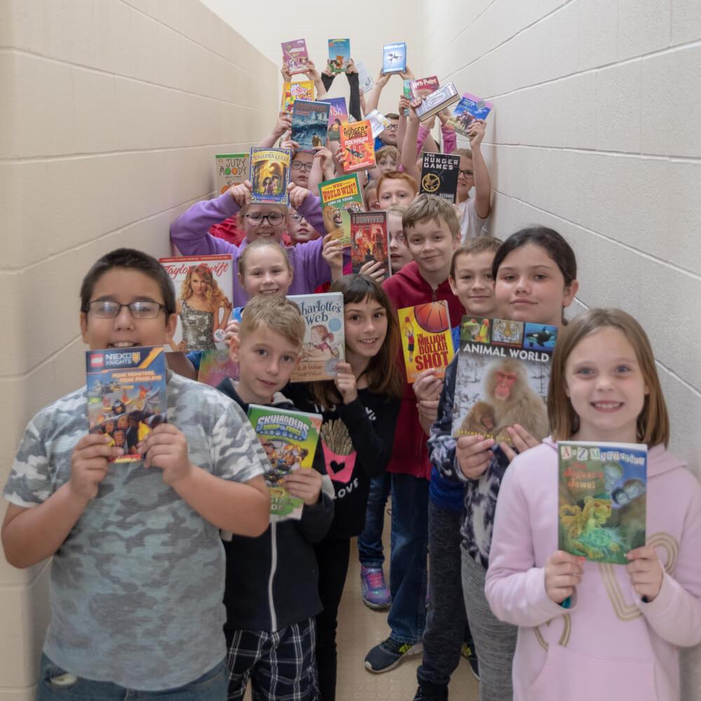 book fair kids with books