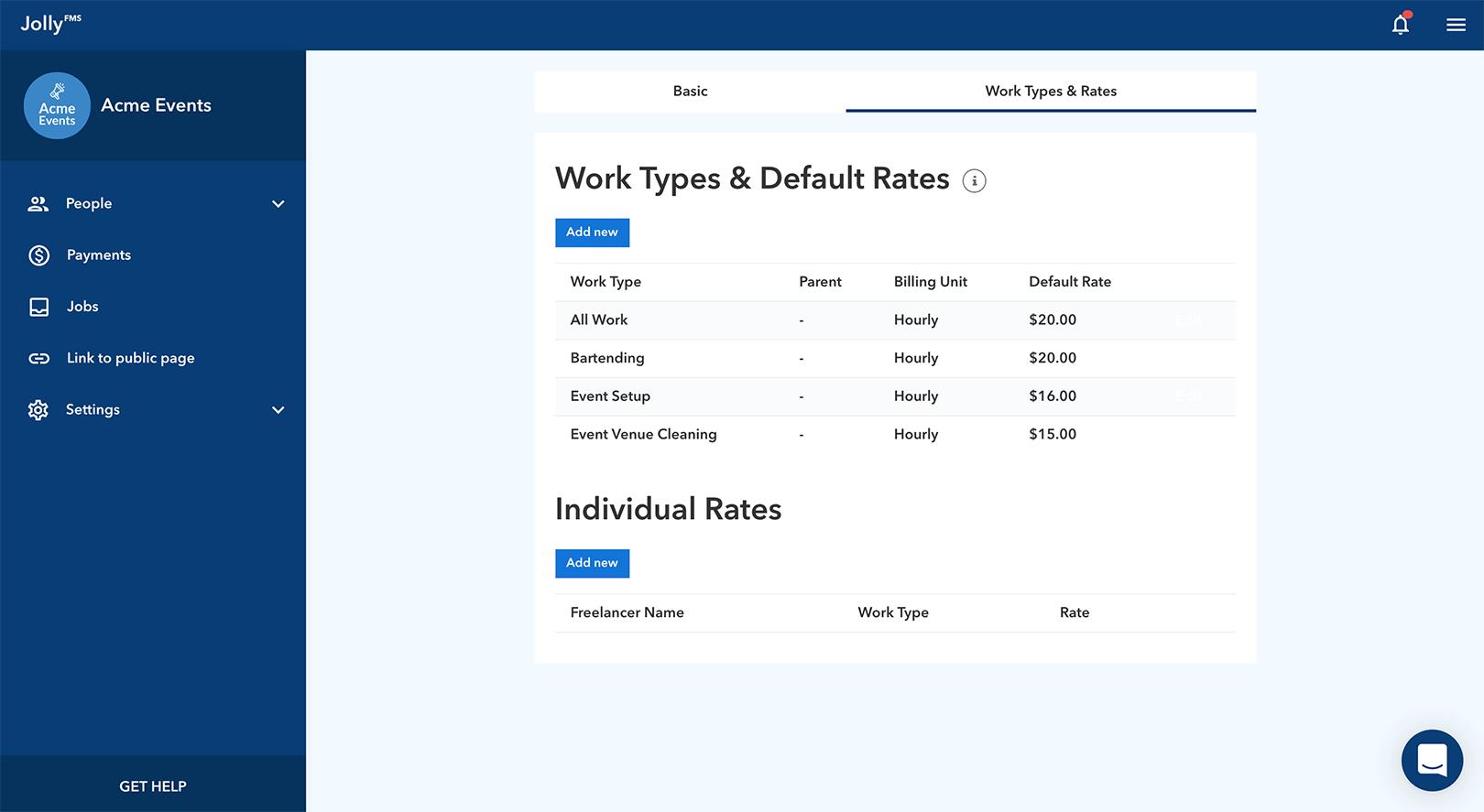 JollyFMS Payment Rates