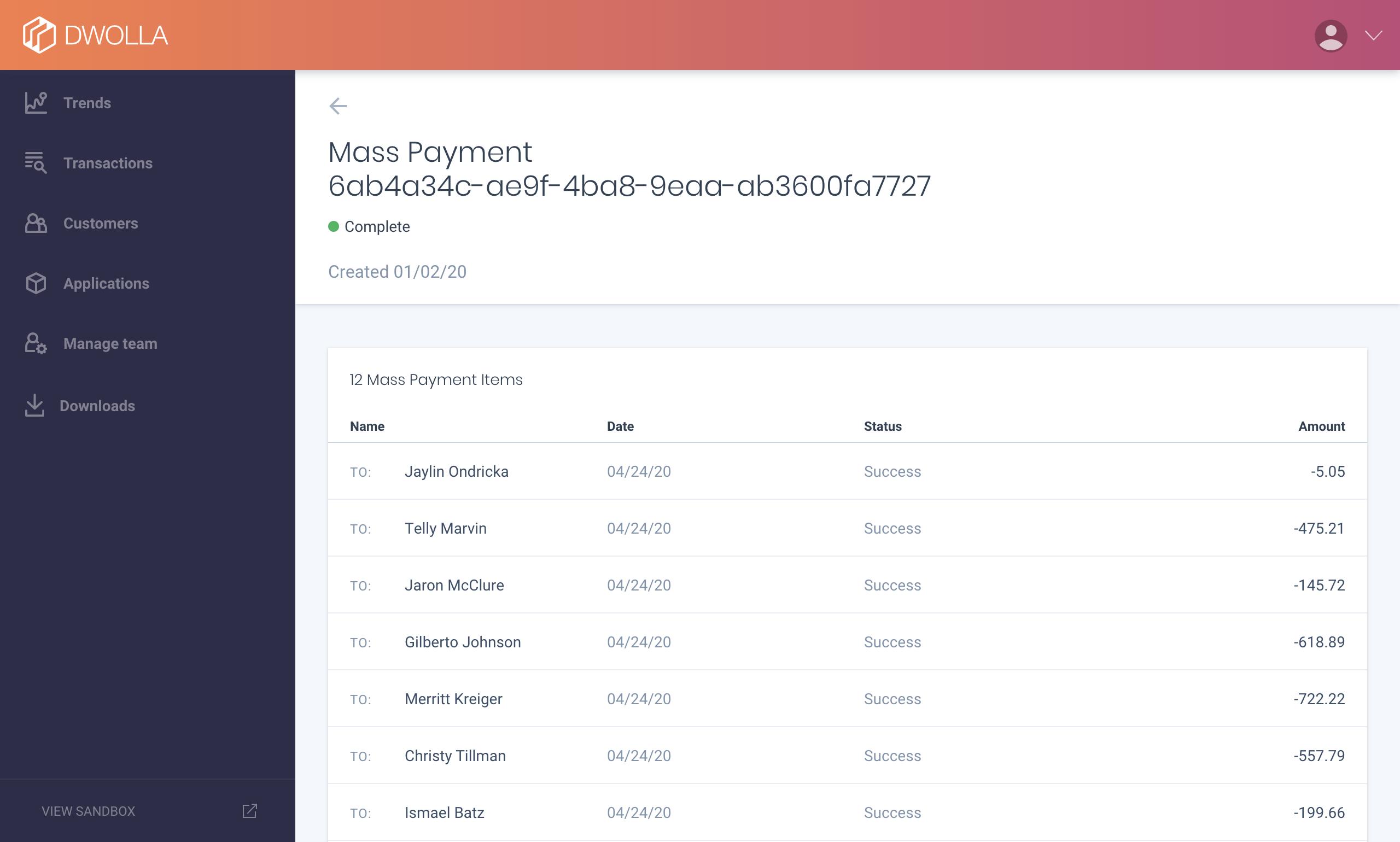 Dashboard Mass Payment Details Screenshot