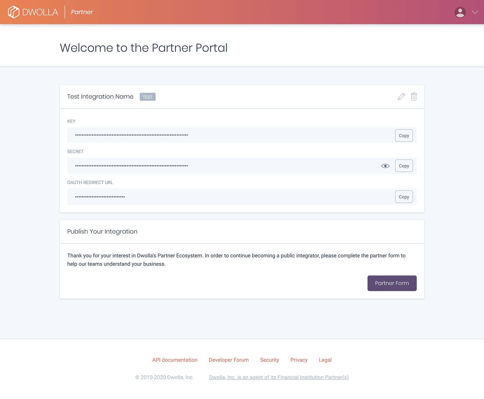 Dwolla partner portal