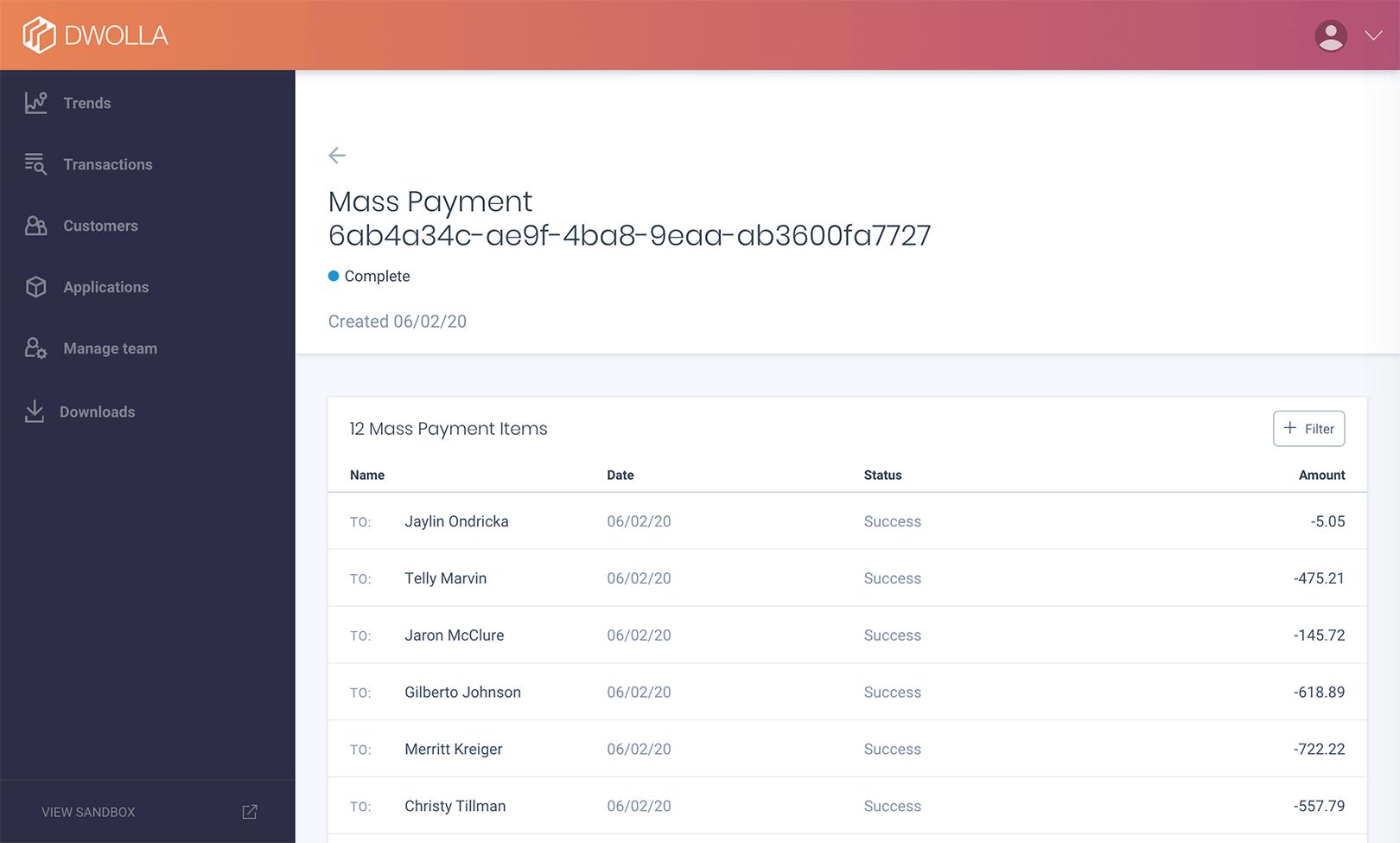 Mass Payment Detail Functionality Screenshot